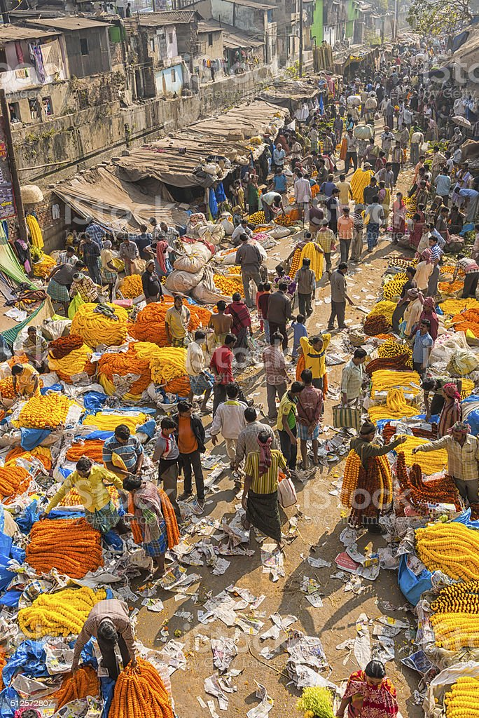 high angle shot of the flower market in Calcutta stock photo