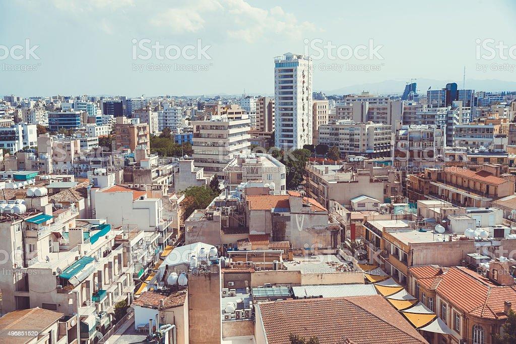 High angle view at Nicosia city. Cyprus stock photo
