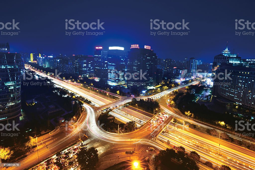 High Angle View City Viaduct and Overpass stock photo