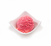 High angle view, close up of strawberry ice cream scoop