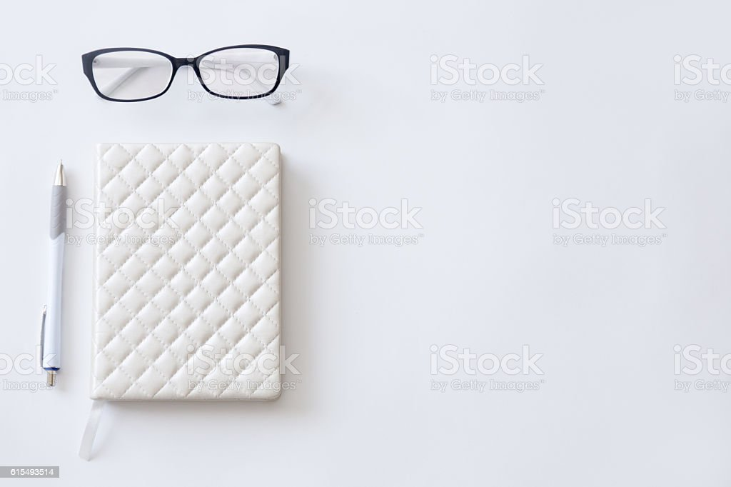High angle view image of a half- empty working desk stock photo