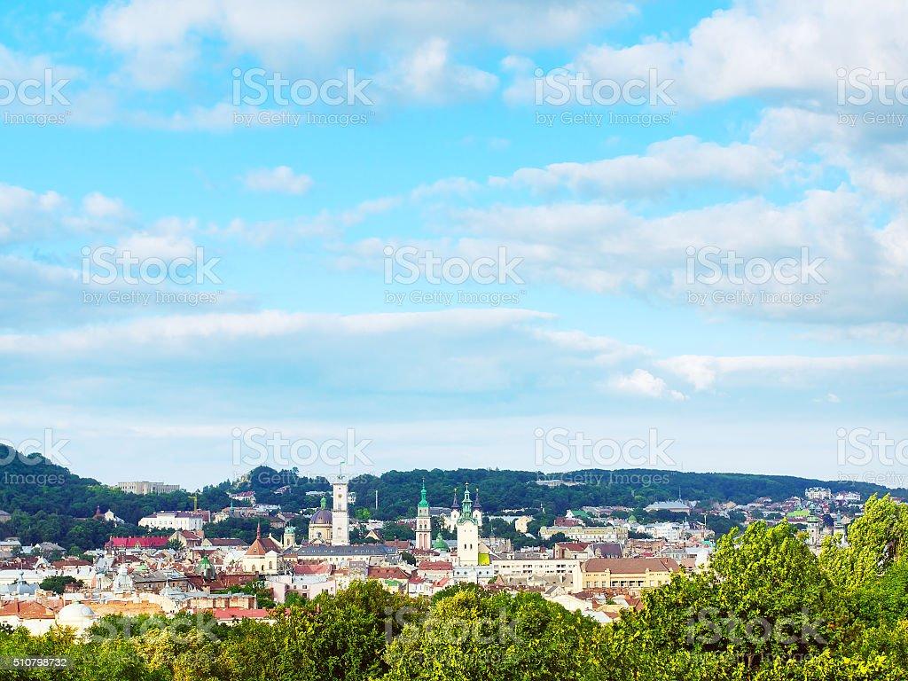 High Angle View Lviv stock photo