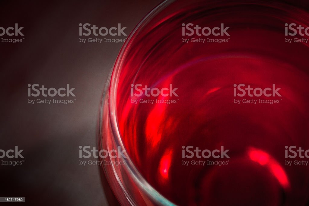 High angle view of a glass of red wine stock photo