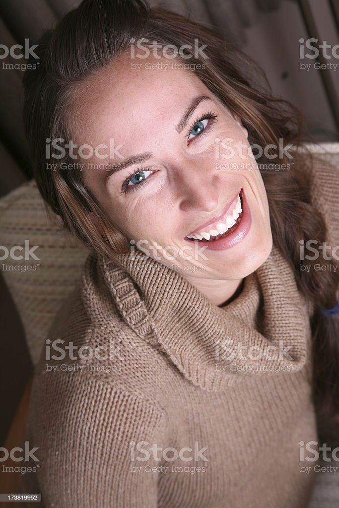 High Angle View of a Pretty Woman stock photo