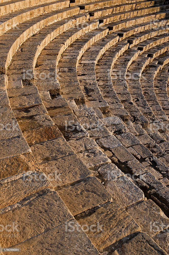 High angle view of a roman amphitheater, Kourion, Limassol, Cyprus royalty-free stock photo