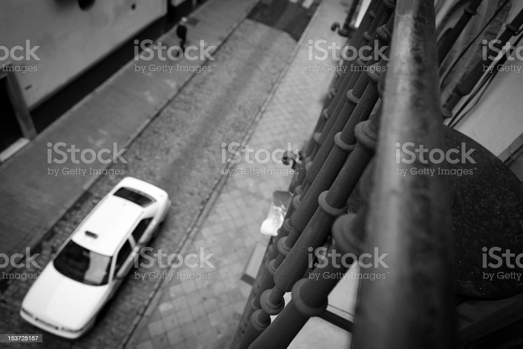 High Angle View of a Seville's Street . Taxi. stock photo