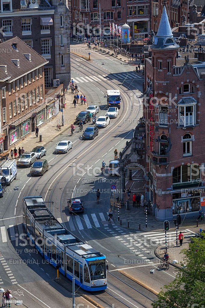 High Angle View of a Street with Tramway in Amsterdam stock photo