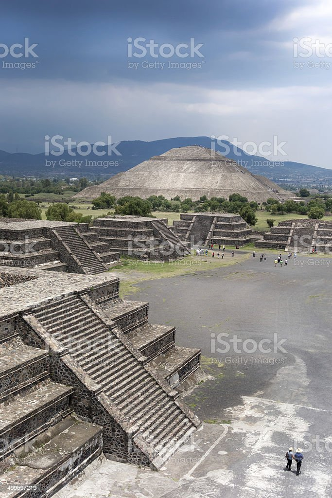 High angle view of an archaeological site, Teotihuacan, Mexico C stock photo