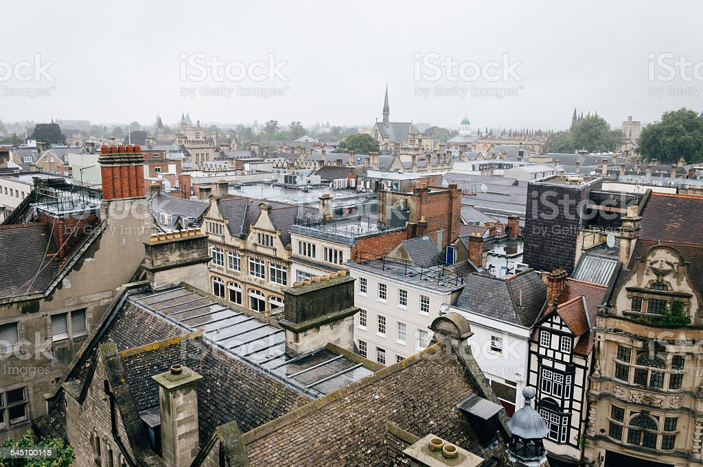 High angle view of an european city stock photo