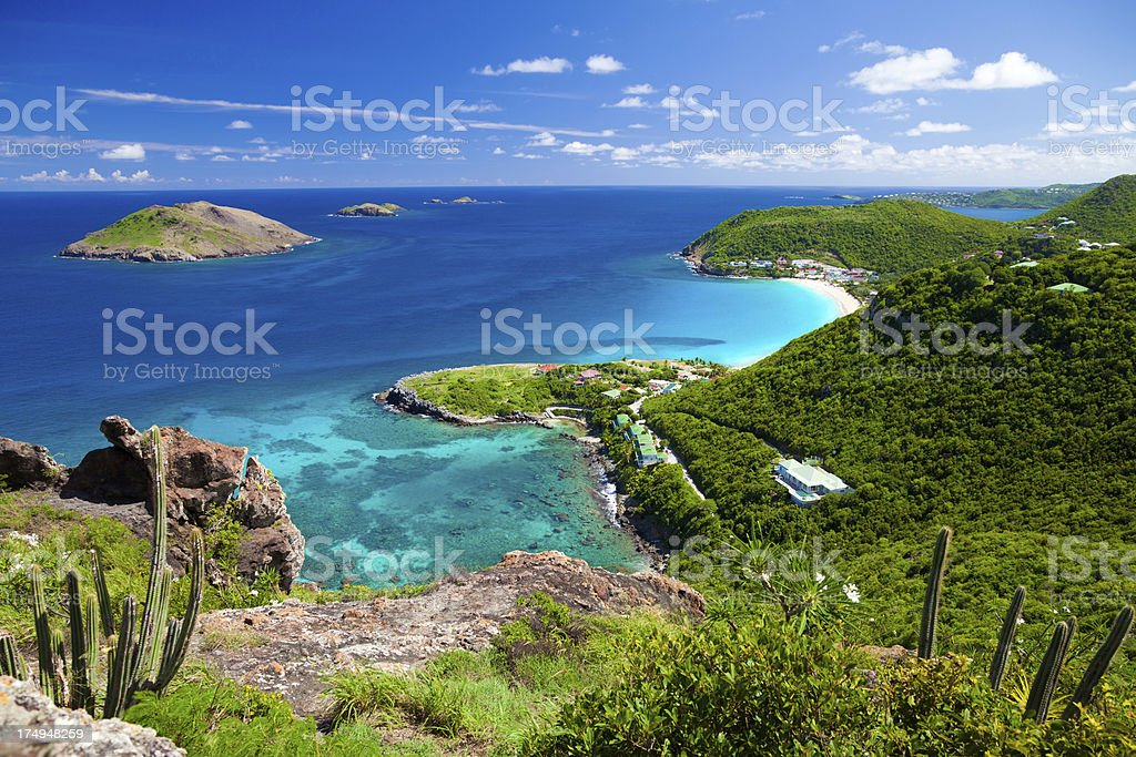 high angle view of Anse des Flamands in St.Barths, FWI stock photo