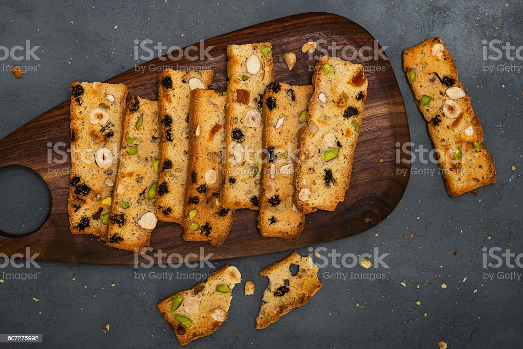 High Angle View Of Biscotti On Table stock photo