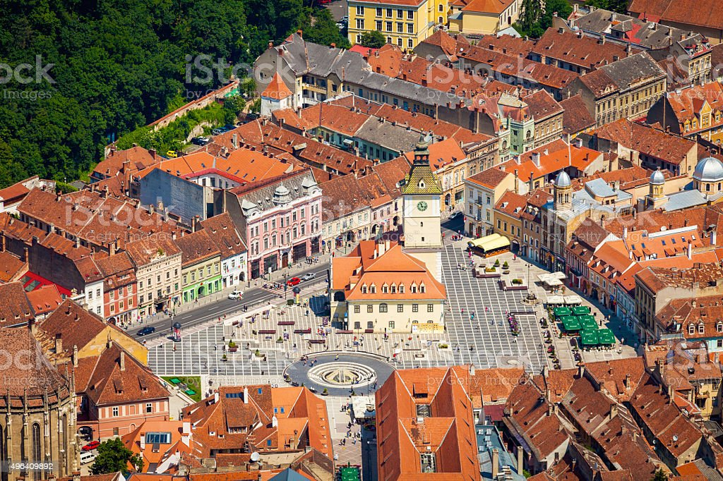 High angle view of Brasov, Romania stock photo