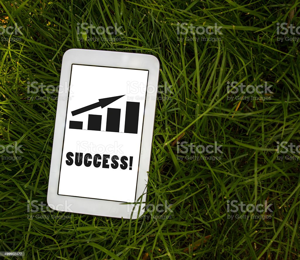 High angle view of business graph showing growth stock photo