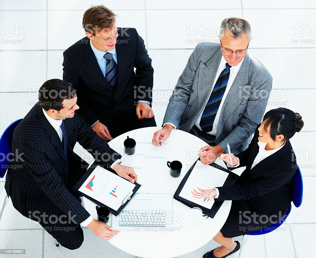 High angle view of business team in meeting royalty-free stock photo