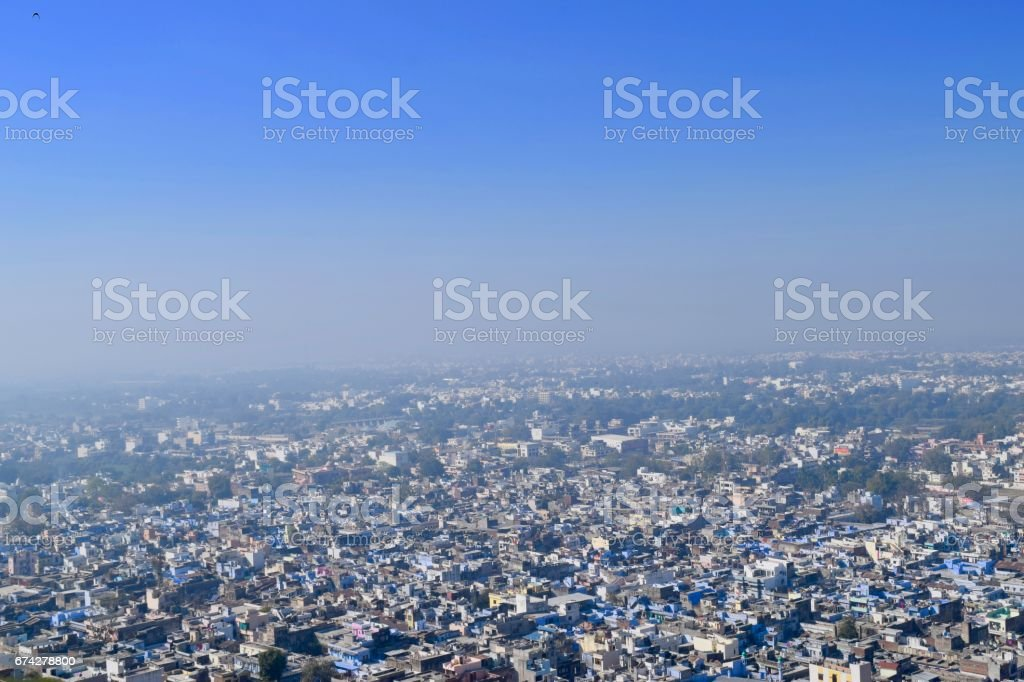 High angle view of chittaurgarh city from fort stock photo