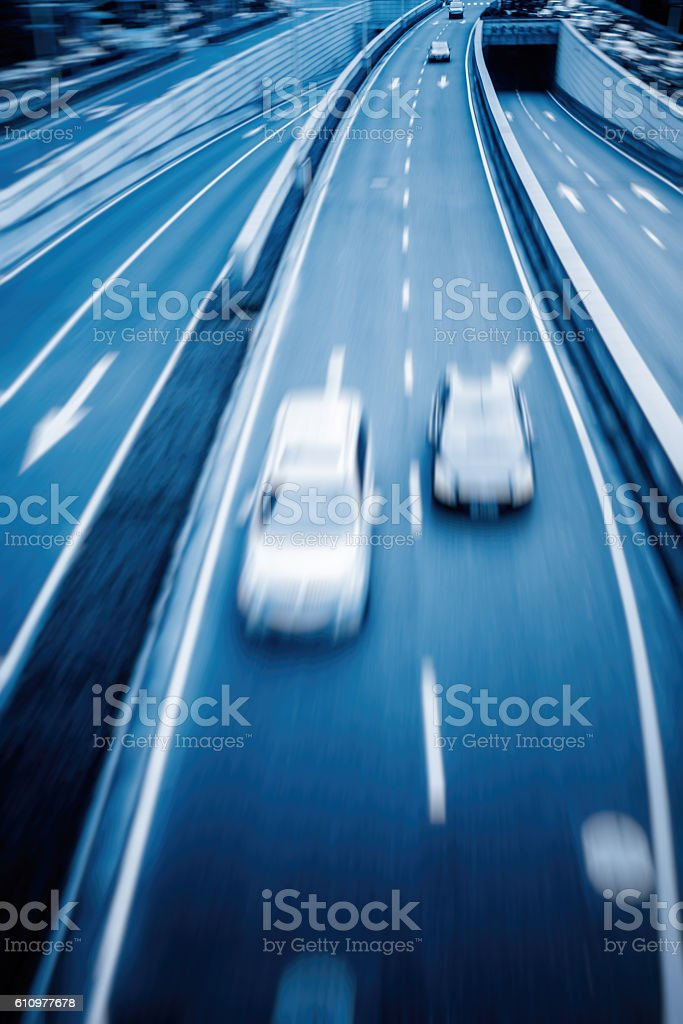 high angle view of city traffic stock photo