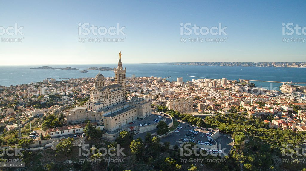 High angle view of cityscape by sea against sky stock photo