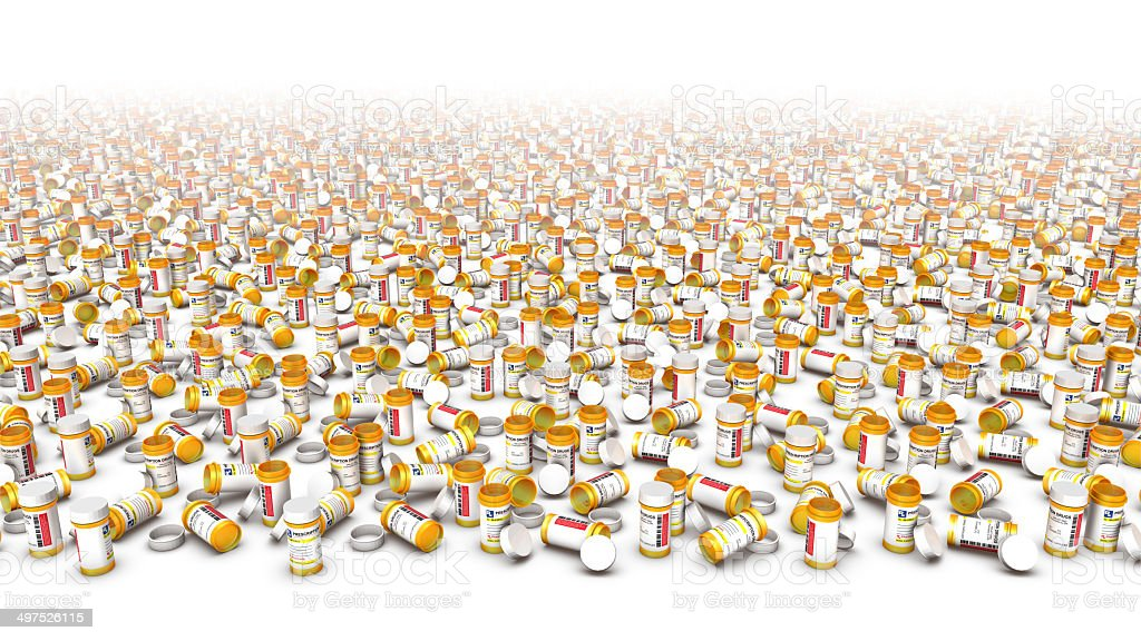 High angle view of endless pill bottles (Bottom Blank) stock photo