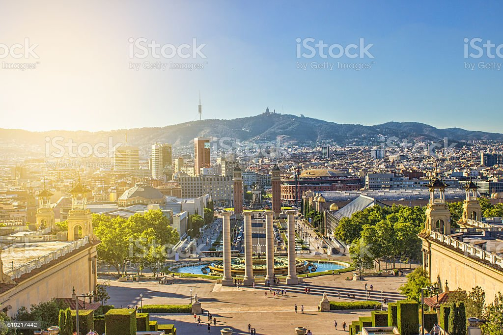 High angle view of Espana square in Barcelona, Spain stock photo