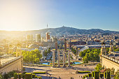High angle view of Espana square in Barcelona, Spain