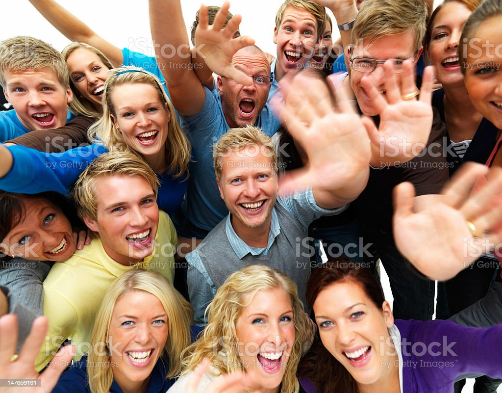 High angle view of excited young friends royalty-free stock photo