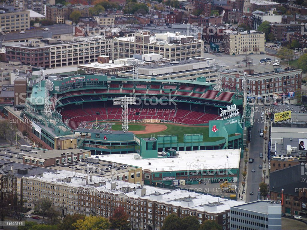 high angle view of fenway park stock photo