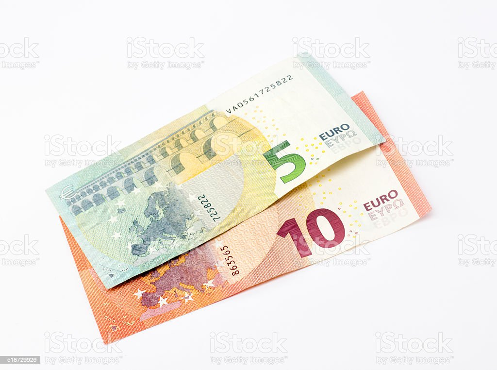 High angle view of five and ten euro banknotes stock photo