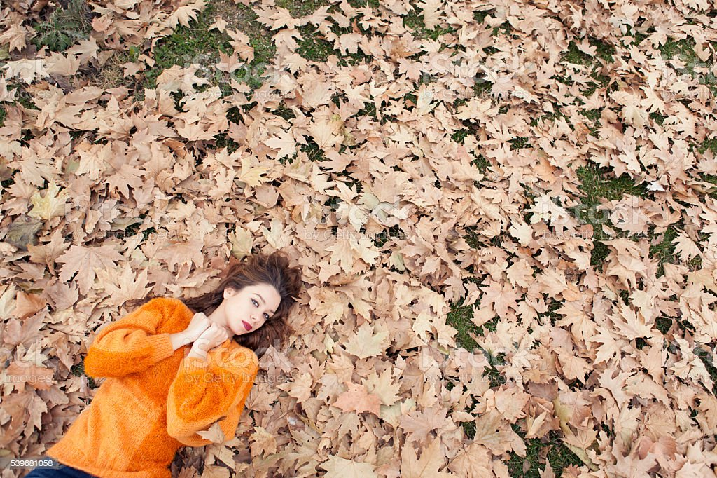 High angle view of girl lying in autumn leaves. stock photo