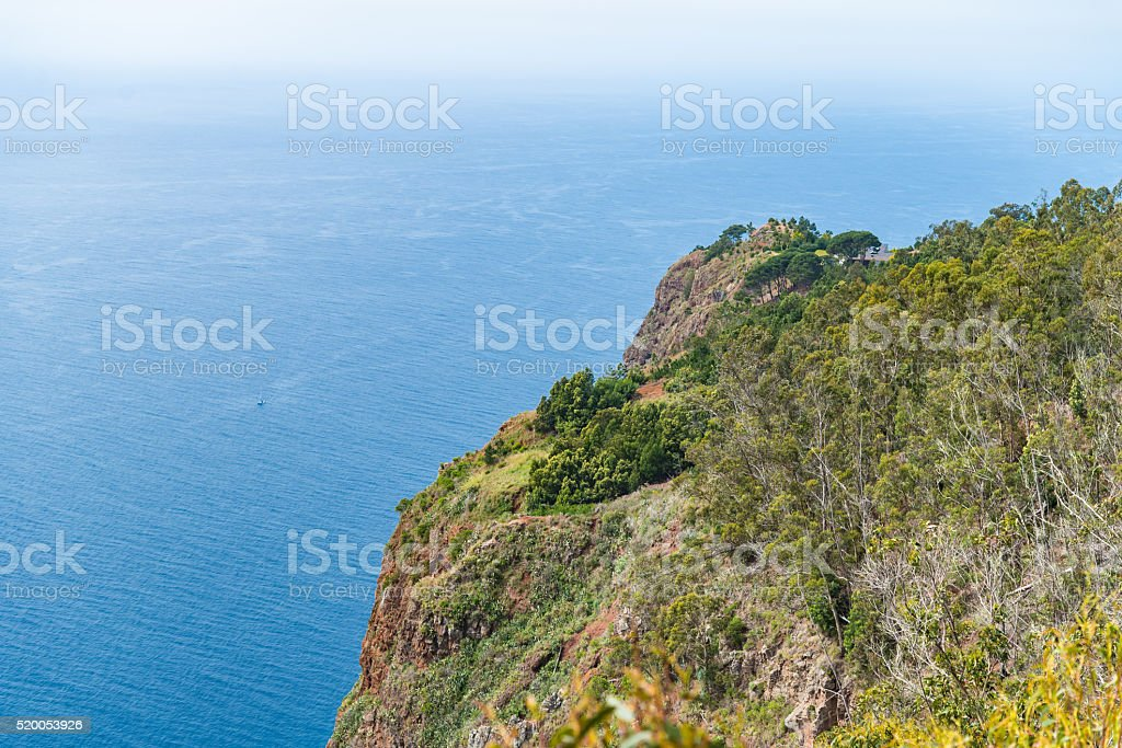High angle view of grassy cliff stock photo