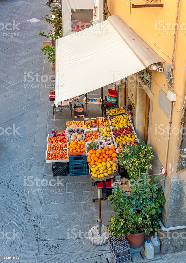 High angle view of greengrocery in Italy stock photo