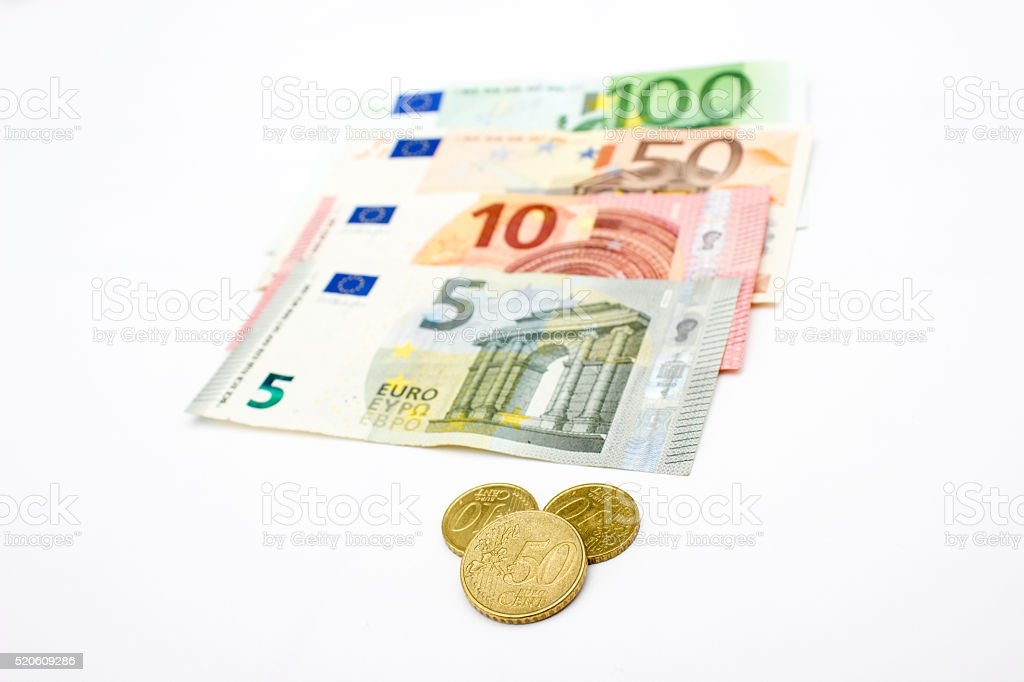 High angle view of group of euro banknotes stock photo