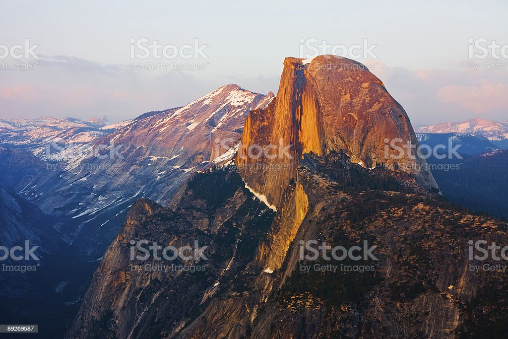 High angle view of half dome in Yosemite national park stock photo