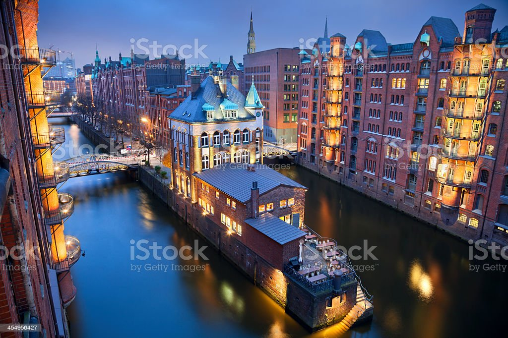 High angle view of Hamburg-Speicherstadt at night stock photo