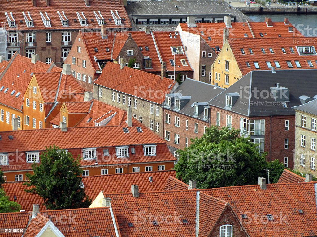 High angle view of houses in Copenhagen stock photo