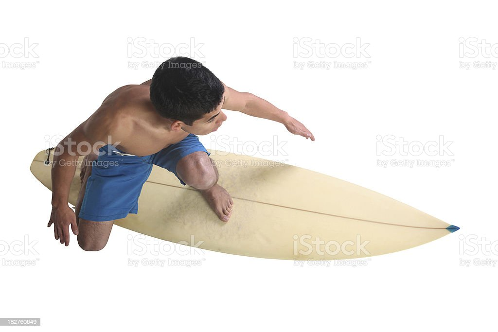 High angle view of isolated surfer dude royalty-free stock photo