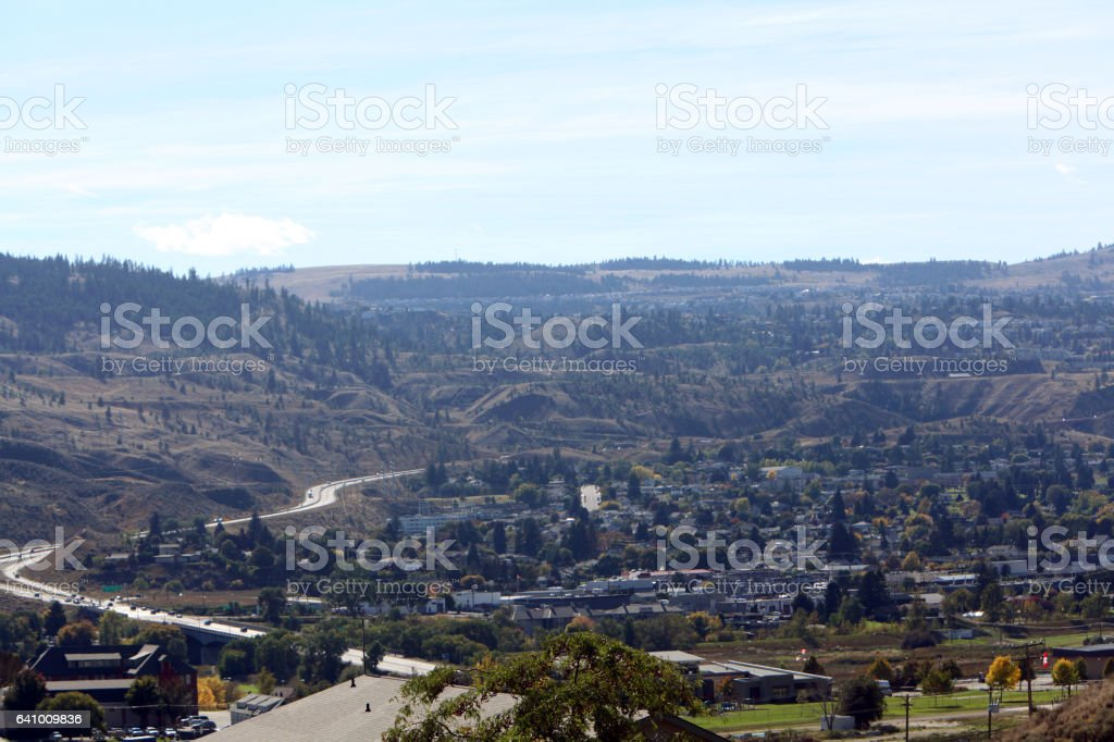 High Angle View Of Kamloops British Columbia With Highway stock photo