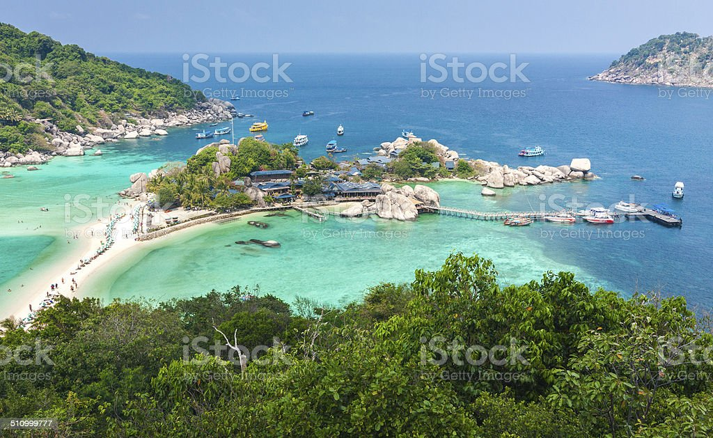 High Angle View of Koh Nangyuan in Thailand stock photo
