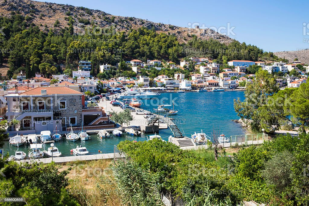 High angle view of Lagkada village in Chios island stock photo