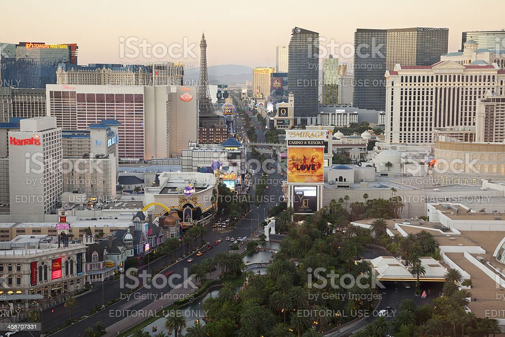 High angle view of Las Vegas Strip at sunrise stock photo