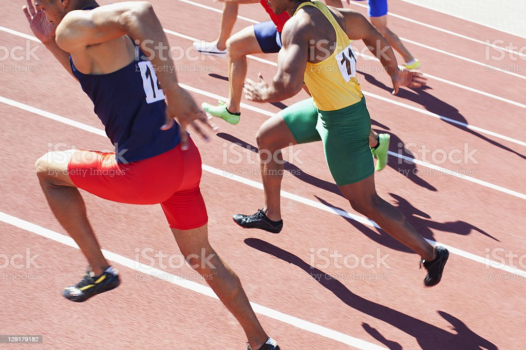 High angle view of men running in a race royalty-free stock photo