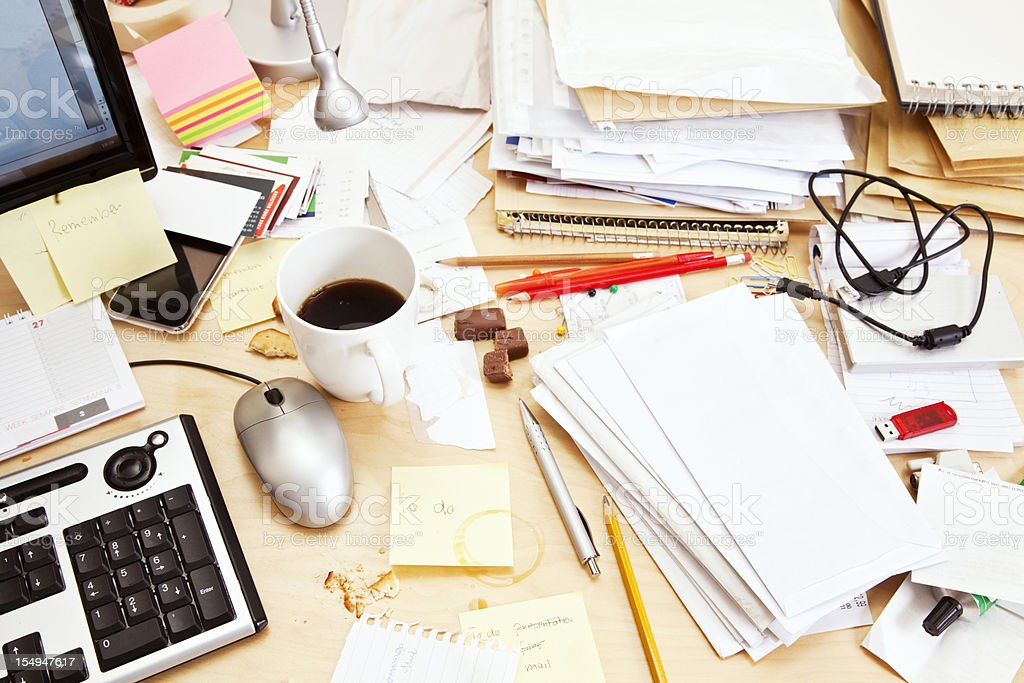 High angle view of messy desk stock photo