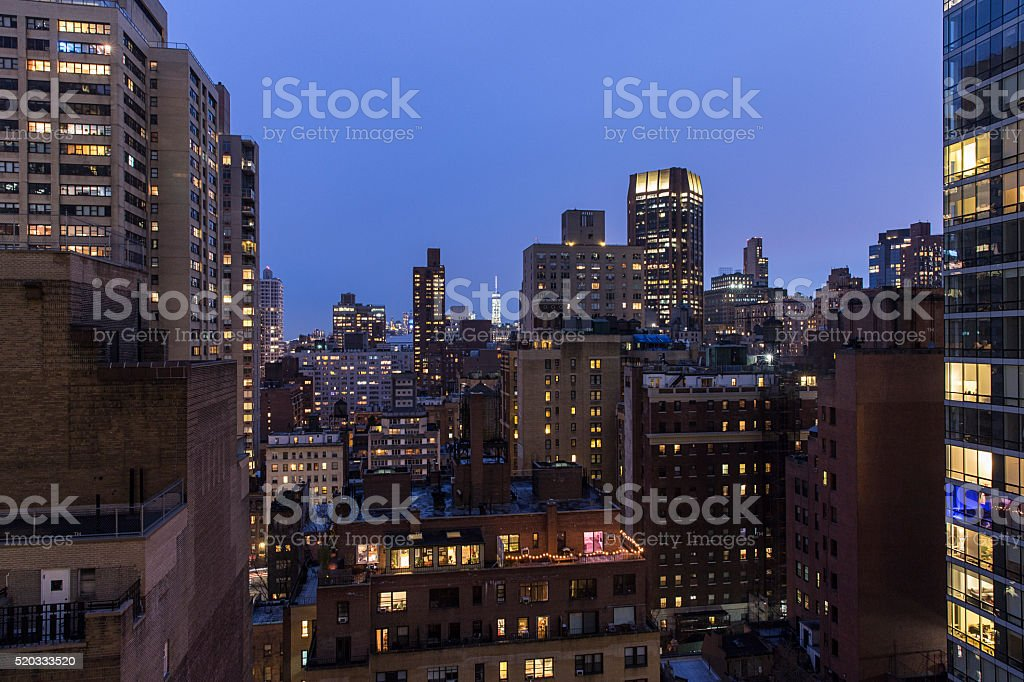 High angle view of New York city buildings at night stock photo