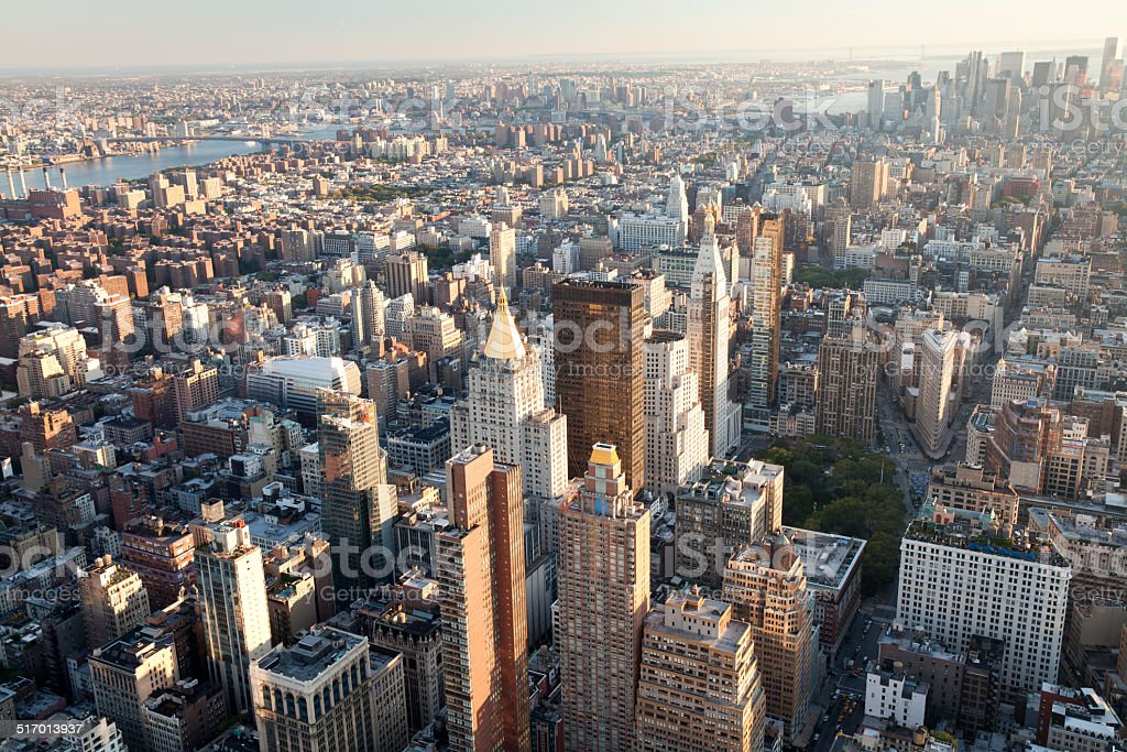 High angle view of New York City stock photo