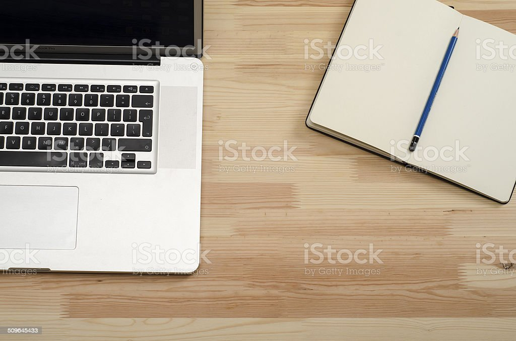 High angle view of office desk stock photo