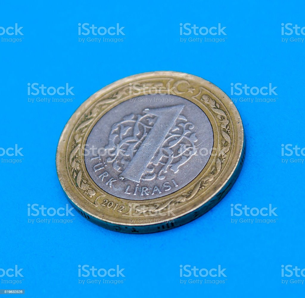 High angle view of one lira - Turkish coin stock photo