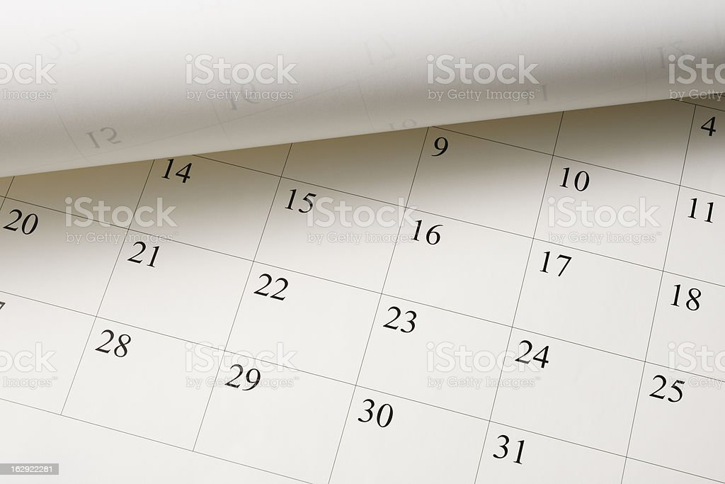 High angle view of opened Calendar stock photo