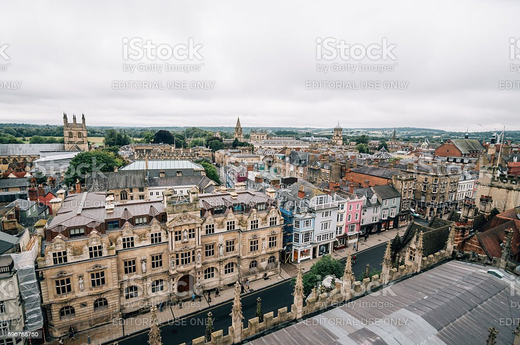 High angle view of Oxford stock photo