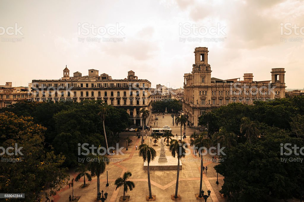 High angle view of Parque Central in Old Havana, Cuba stock photo