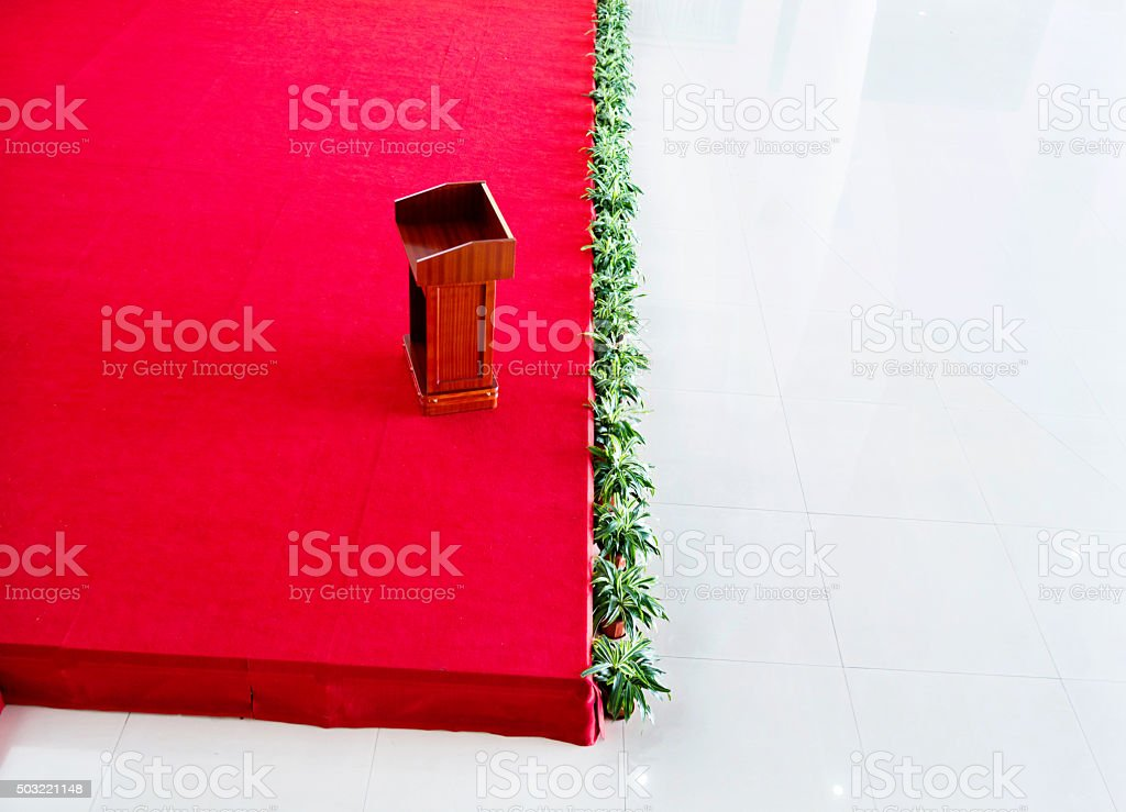 High angle view of podium stock photo
