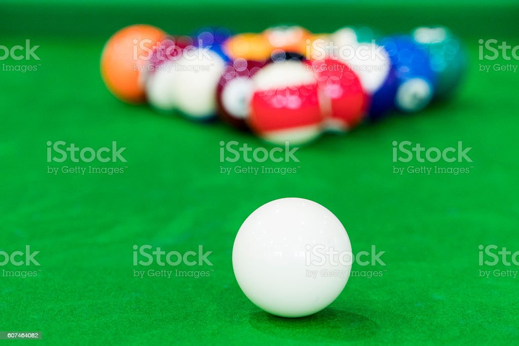 High Angle View Of Pool Balls Arranged On Table stock photo